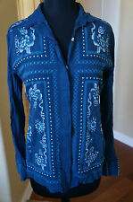 NEW Johnny Was 3J Workshop Embroidrd Randall Lng SleeveFitted Top Blouse Shirt S
