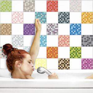 Fliesenaufkleber Fliesenfolie Fliesensticker Küche Bad 15x20cm Mosaik glänzend