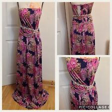 Mango Purple Pink Floral  Ruche Waist Strapless Bandeau Maxi Dress Size-10 New