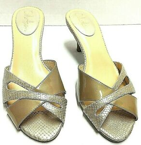Cole Haan Women Gold Heels Slides Sandal Shoe 8B Us Pre-Owned in Mint Condition