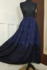 Long Rayon Embroidered Boho Hippy Gypsy Elasticated Navy Skirt Blue 14 16 18 20