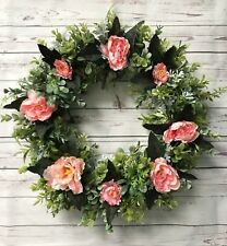 Door Wreath Green Peony Spring Summer Decor Handmade Floral Seasonal Design 17""