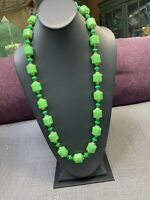 """1950S Lime Green Large Long Plastic Beaded Strand Beaded Necklace 30"""""""
