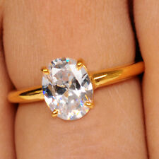 2.10Ct Solitaire Women's Engagement Ring 14Kt Yellow Gold Fantastic Oval Shape