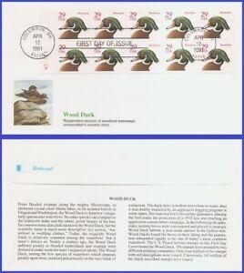 USA5 #2485a U/A FLEETWOOD FDC BKLT10  Wood Duck red denomination