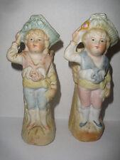 2 Vintage Antique German Bisque Porcelain Figures Boy Girl tooth pick holder