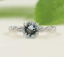 14K solid gold ring~Aquamarine ring~Engagement Ring~natural Diamond ring~SJR0537