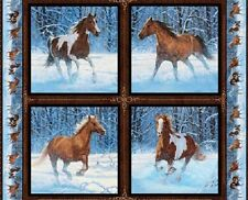 4 Horse Cushion Panels Cotton Quilting Fabric - Wild Wings Approaching Storm