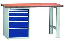 Werkbank Werktisch, 5 Schubladen, LxTxH 1500x700x840mm, RAL 7035/5010