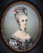 """Ältere Miniaturmalerei """" Comtesse d`Artois """"  Handgemalt - signiert !!!"""