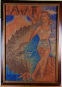 Franz Altschuler 'Hawaii' cover illustration? pastel, signed MCM dated