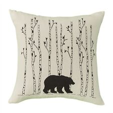 """BLACK BEAR and BIRCH ACCENT PILLOW : 16"""" CABIN LODGE RUSTIC TREE TOSS CUSHION"""