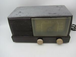 VTG RETRO SPACE AGE GE GENERAL ELECTRIC 414 DIAL BEAM TUBE TYPE AM RADIO BROWN