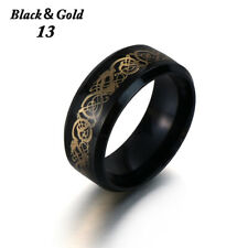 Celtic Dragon Titanium Men's Rings Black Stainless Steel Fashion Wedding Band