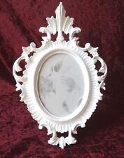 Bilderrahmen oval Weiß Antik Barockrahmen Fotorahmen Shabby 22x16 Deko c19