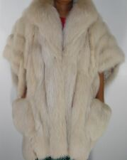 Neiman Marcus White Blush Fox Fur Cape Poncho Coat Size 14-16-18-20-22 FREE SHIP