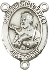 Sterling Silver Saint Francis Xavier Rosary Centerpiece Medal, 3/4 Inch