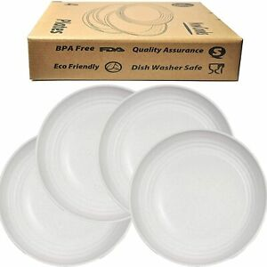 Unbreakable GRAY 4 Dinner Plates 23cm Tableware Round Dishes bpa free
