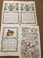 Lot of 4 Vtg Linen Cotton Calendar Tea Towels 1985 1992 1997 1999 No Stains Nice
