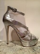 Michael Kors Leighton Heel Ankle Strap Sandals Pumps Strappy Leather Silver 9 M