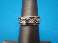 Unique Diamond Wedding Band Ring 14kt White Gold Sz 4.75  4 3/4