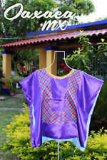133 Womens Mexican Embroidered Purple Huipil Oaxaca Boho Hippie Mayan Blouse