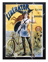Historic bicycles and automobiles -Liberator Advertising Postcard