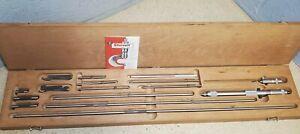 """Starrett No. 124 inside micrometer set - 2"""" to 32"""" - Made in U.S.A - 124A & 124C"""
