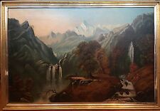 after Alexander Loemans Large Mt Hood Oil Painting O/C 19th C.Native Americans