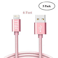 iPhone Cable Nylon Braided Supreme Quality Charger ( 6 Feet Rose Gold 5 Pack)