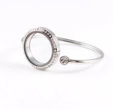 Stainless Steel 30 Mm Crystal Twist Floating Charm Locket Bracelet