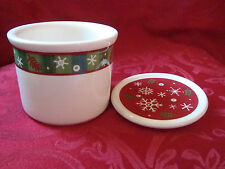 2004 Longaberger Holiday Snowflake Christmas 1 Pint Salt Crock & Coaster