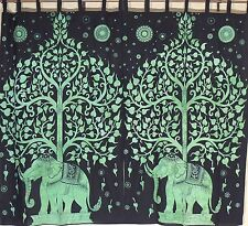 """Printed Curtains - 2 Green Tree of Life and Elephant Indian Cotton Panels 78"""""""