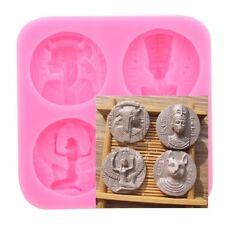 4 Type Silicone Pharaoh Egyptian Coin Shape Fondant Mold Cake Decor Baking Tools