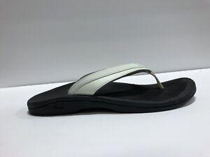 Olukai Ohana Womens Sandal White/Black Size 8 M