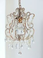 Charming Vintage Chandelier Glass drops Prisms 1980 MURANO Lustre Gouttes RARE
