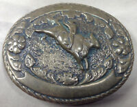 VINTAGE Brass Bull Rider Belt Buckle Great Old Patina