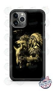 Native American Indian Wolf Eagle Phone Case Cover For iPhone 11 Samsung LG etc