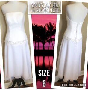 NWT Mori Lee Womens Dress Voyage Bridal White Strapless Wedding Chiffon US6