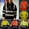 Men Road Work High Visibility Reflection Pullover Long Sleeve Hooded Tops Blouse