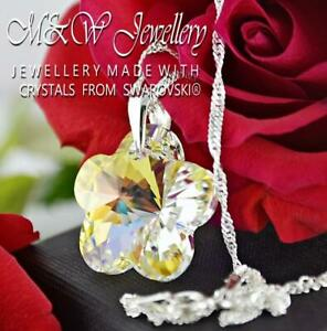 925 Silver Necklace Pendant Crystals from Swarovski® FLOWER 20mm - Crystal AB