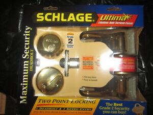 Schlage FB350N Brass Right Hand Door Maximum Security Deadbolt Key Entry.