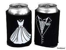 Bride & Groom Wedding Dress/Tux Can Cover Coolies, Novelty beer Koozie Party