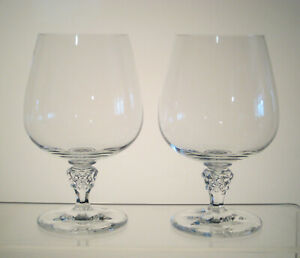 """UNKNOWN PATTERN Brandy Snifters 5 1/2"""", SET of TWO, CLUSTER of GRAPES STEM"""