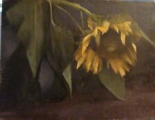 """'BOWING DOWN' Original Oil Painting  Sunflower 13.5"""" x 18"""""""