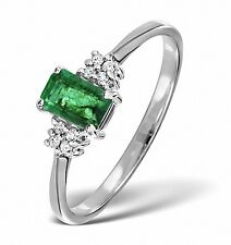 Emerald and Diamond Ring White Gold Size F - Z Appraisal Certificate