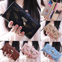 Women Leaf Bifold Boho Wallet Leather Clutch Card Holder Purse Lady Long Handbag