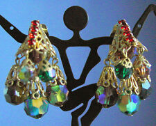 Vintage Rhinestone FILIGREE 'Lampshade' EARRINGS~ ORANGE & GREEN AB CRYSTALS,fjt