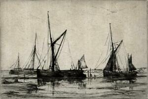 AILEEN MARY ELLIOTT (1896-1966) Signed Etching BOATS IN HARBOUR c1930