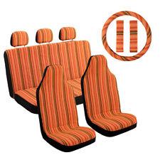 10pcs Baja Orange Car Seat Covers w/ Steering Wheel Cover & Belt for Suv Sedan